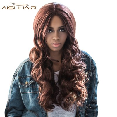 AISIHAIR Mixed Brown Fluffy Wavy Synthetic Middle Parting Wigs