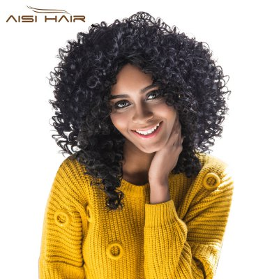 AISIHAIR Women Medium Side Bang Black Afro Curly Wig Synthetic Hair