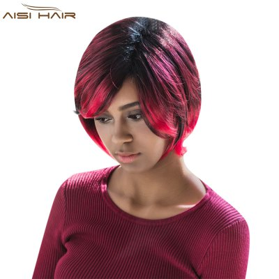 AISIHAIR Women Short Straight Side Bangs Gradient Black Red Synthetic Wigs