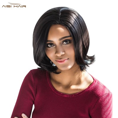 AISIHAIR Straight Medium Synthetic Curly Tail Black Wigs