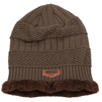 Solid Color Warm Inside Male Knitted Hat