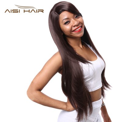 AISIHAIR Women Long Natural Straight Side Bangs Deep Brown Synthetic Wigs