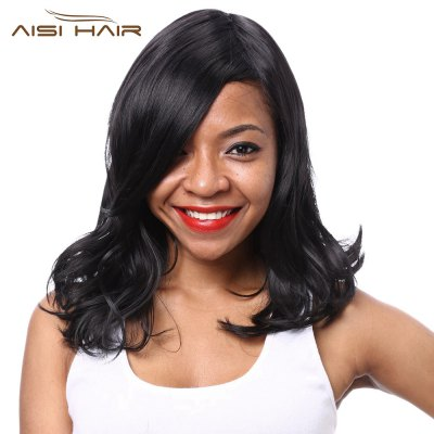 AISIHAIR Women Medium Lob Side Bangs Slightly Curly Synthetic Black Wigs
