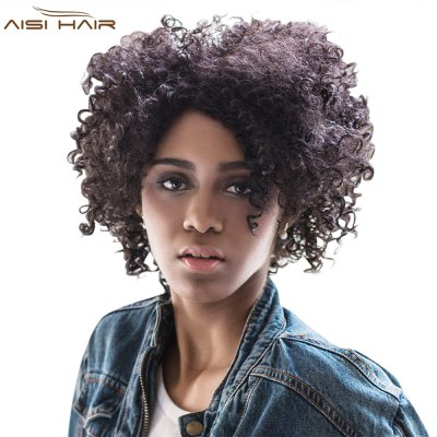 AISIHAIR Short Side Bang Black Afro Curly Wig