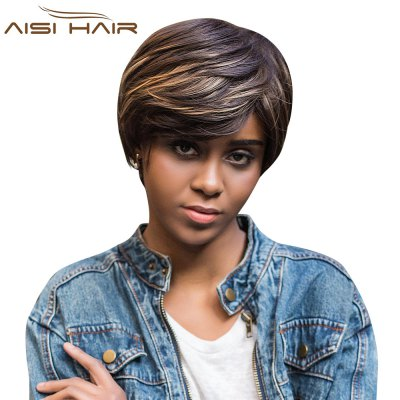 AISIHAIR Short Straight Mixed Colors Side Bangs Synthetic Wig Natural Dyeing Hair Style
