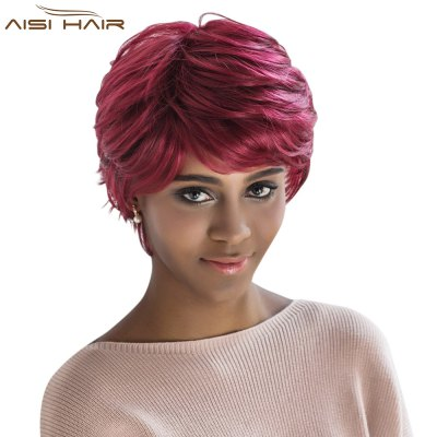 AISIHAIR Short Loose Curly Wine Red Side Bangs Synthetic Wigs Natural Dyeing Hair Style