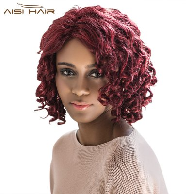 AISIHAIR Medium Curly Wine Red Side Bangs Synthetic Wigs