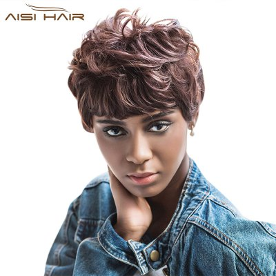 AISIHAIR Short Curly Full Bangs Brown Synthetic Wigs for Women
