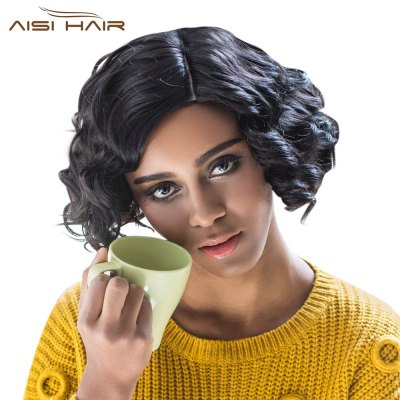 AISIHAIR Women Short Curly Side Parting Heat Resistant Synthetic Black Wigs