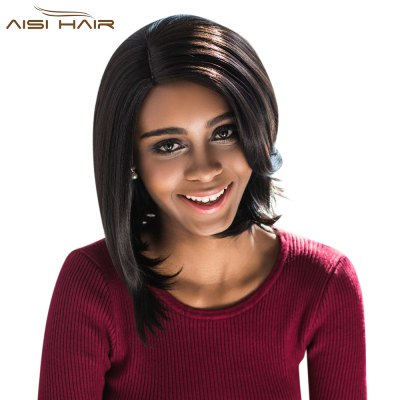 AISIHAIR Side Parting Slightly Wavy Synthetic Wigs