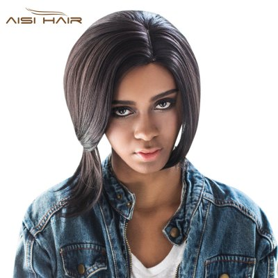 AISIHAIR Side Parting Short Asymmetrical Straight Wigs