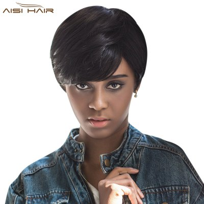 AISIHAIR Short Pixie Cutting Side Bangs Black Wigs