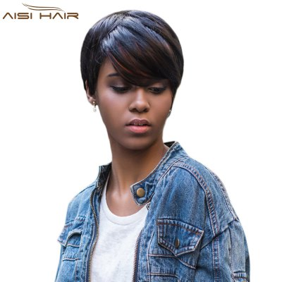 AISIHAIR Short Side Bangs Straight Mixed Color Synthetic Wig