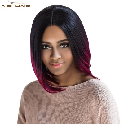 AISIHAIR Straight Middle Parting Mixed Colors Wine Red Wigs