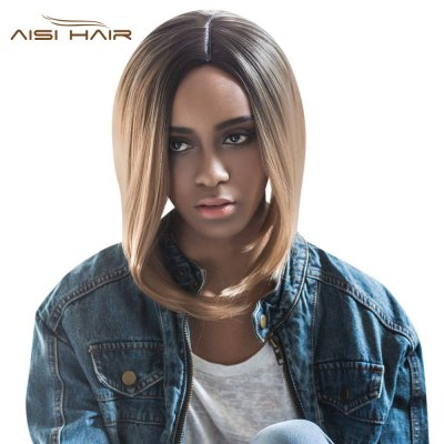 AISIHAIR Short Lob Gradient Color Straight Asymmetrical Side Parting Synthetic Wigs for Women