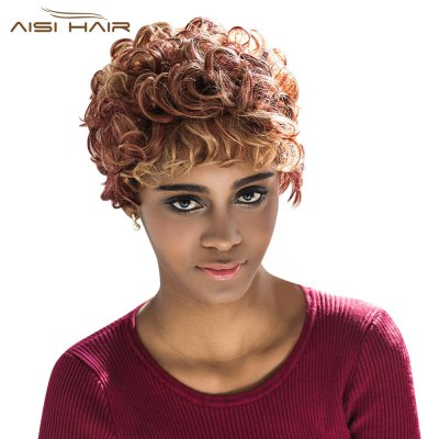 AISIHAIR Stunning Short Round Curly Mixed Color Full Wigs