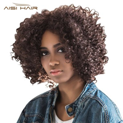 AISIHAIR Kinky Afro Short Natural Curly Side Parting Black Wigs