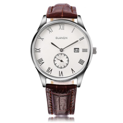 GUANQIN GQ13003 Male Quartz WatchMens Watches<br>GUANQIN GQ13003 Male Quartz Watch<br><br>Band Length: 8.27 inch<br>Band Material Type: Genuine Leather<br>Band Width: 18mm<br>Case material: Stainless Steel<br>Case Shape: Round<br>Clasp type: Pin Buckle<br>Dial Diameter: 1.5 inch<br>Dial Display: Analog<br>Dial Window Material Type: Sapphire<br>Feature: Date, Chronograph<br>Gender: Men<br>Movement: Quartz<br>Package Contents: 1 x Watch<br>Package Size(L x W x H): 7.50 x 10.00 x 5.50 cm / 2.95 x 3.94 x 2.17 inches<br>Package weight: 0.128 kg<br>Product Size(L x W x H): 25.50 x 4.00 x 0.80 cm / 10.04 x 1.57 x 0.31 inches<br>Product weight: 0.044 kg<br>Style: Business<br>Water Resistance Depth: 30m