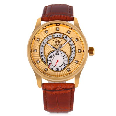 SEWOR SW060 Auto Mechanical Male WatchMens Watches<br>SEWOR SW060 Auto Mechanical Male Watch<br><br>Band Length: 8.27 inch<br>Band Material Type: Leather<br>Band Width: 20mm<br>Case material: Alloy<br>Case Shape: Round<br>Clasp type: Pin Buckle<br>Dial Diameter: 1.57 inch<br>Dial Display: Analog<br>Dial Window Material Type: Hardlex<br>Feature: Luminous, Date, Chronograph<br>Gender: Men<br>Movement: Automatic Self-Wind<br>Package Contents: 1 x Watch<br>Package Size(L x W x H): 26.00 x 5.50 x 2.00 cm / 10.24 x 2.17 x 0.79 inches<br>Package weight: 0.083 kg<br>Product Size(L x W x H): 25.00 x 4.50 x 1.00 cm / 9.84 x 1.77 x 0.39 inches<br>Product weight: 0.062 kg<br>Style: Business