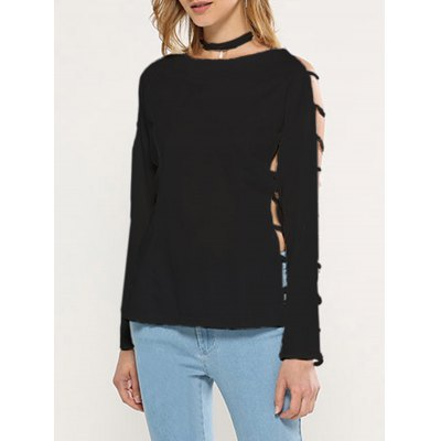 Hollow Sleeve Pure Color Women Knitted Blouse