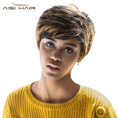 AISIHAIR Short Natural Straight Side Bangs Synthetic Wigs