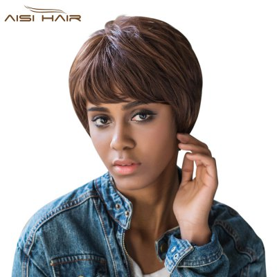 AISIHAIR Short Side Bangs Straight Synthetic Wigs