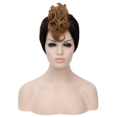 Inspiring Short Spiky Hair Cutting Mixed Color Synthetic Wigs