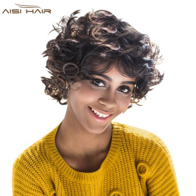 AISIHAIR Shaggy Short Curly Mixed Black Brown Synthetic Wigs