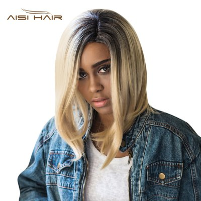 AISIHAIR Medium Gradient Color Straight Side Parting Wigs