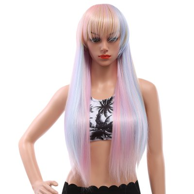Full Bangs Harajuku Colorful Rainbow Straight Synthetic Wigs
