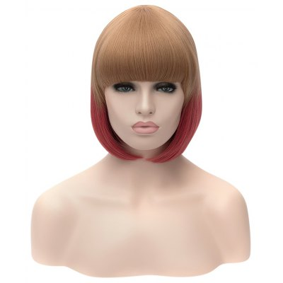 Medium Straight Celebrity Hairstyle Mixed Colors Wigs