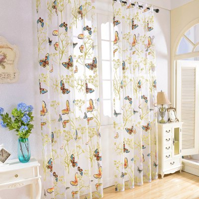 100 x 270CM Butterfly Tulle Window Curtain