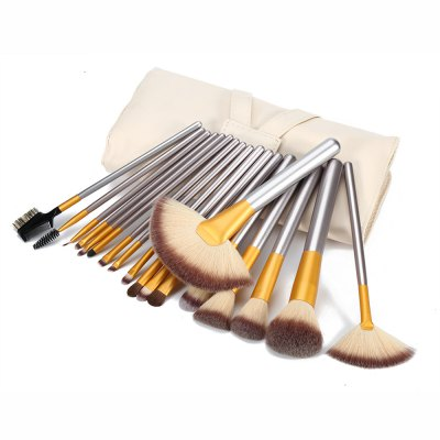 18pcs Beige Multifunction Brushes with Storage Pouch