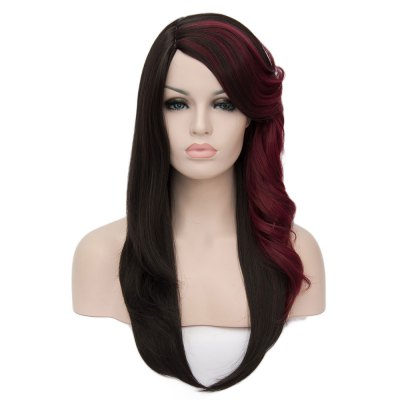 Women Long Red Wine Oblique Volume Bangs Wigs