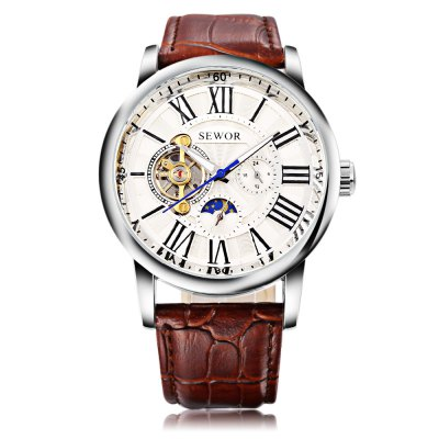 SEWOR SW069 Male Auto Mechanical WatchMens Watches<br>SEWOR SW069 Male Auto Mechanical Watch<br><br>Band Length: 8.43 inch<br>Band Material Type: Genuine Leather<br>Band Width: 20mm<br>Case material: Alloy<br>Case Shape: Round<br>Clasp type: Pin Buckle<br>Dial Diameter: 1.72 inch<br>Dial Display: Analog<br>Dial Window Material Type: Hardlex<br>Feature: Moon Phase, Luminous<br>Gender: Men<br>Movement: Automatic Self-Wind<br>Package Contents: 1 x Watch<br>Package Size(L x W x H): 27.00 x 5.60 x 2.50 cm / 10.63 x 2.2 x 0.98 inches<br>Package weight: 0.113 kg<br>Product Size(L x W x H): 26.00 x 4.60 x 1.50 cm / 10.24 x 1.81 x 0.59 inches<br>Product weight: 0.092 kg<br>Style: Business<br>Water Resistance Depth: 30m