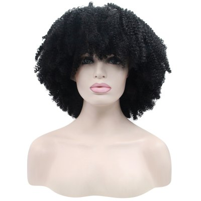 Fluffy Afro Short Curly Full Bangs Synthetic Lace Front Wigs