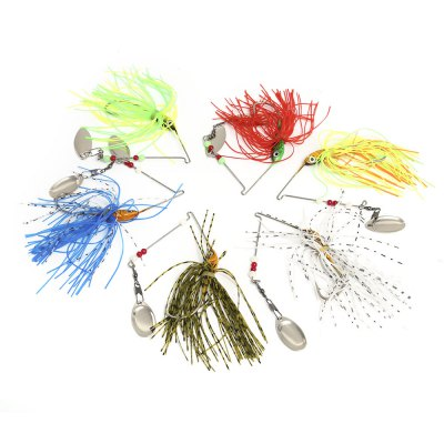 6pcs Fishing Tackle Hook Lure Bait with Paillette Beard