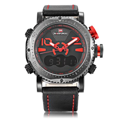 Naviforce NF9094M Male Dual Movt WatchMens Watches<br>Naviforce NF9094M Male Dual Movt Watch<br><br>Band Length: 8.66 inch<br>Band Material Type: Leather<br>Band Width: 24mm<br>Case material: Alloy<br>Case Shape: Round<br>Clasp type: Pin Buckle<br>Dial Diameter: 1.77 inch<br>Dial Display: Analog-Digital<br>Dial Window Material Type: Hardlex<br>Feature: Luminous, Led Display, Day, Date, Chronograph, Alarm<br>Gender: Men<br>Movement: Digital,Quartz<br>Package Contents: 1 x Watch<br>Package Size(L x W x H): 28.00 x 6.50 x 2.50 cm / 11.02 x 2.56 x 0.98 inches<br>Package weight: 0.140 kg<br>Product Size(L x W x H): 27.00 x 5.50 x 1.50 cm / 10.63 x 2.17 x 0.59 inches<br>Product weight: 0.119 kg<br>Style: Business<br>Water Resistance Depth: 30m