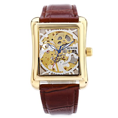 SEWOR SW003 Mechanical Hand Male WatchMens Watches<br>SEWOR SW003 Mechanical Hand Male Watch<br><br>Band Length: 8.27 inch<br>Band Material Type: Leather<br>Band Width: 20mm<br>Case material: Alloy<br>Case Shape: Square<br>Clasp type: Pin Buckle<br>Dial Diameter: 1.38 inch<br>Dial Display: Analog<br>Dial Window Material Type: Hardlex<br>Feature: Luminous<br>Gender: Men<br>Movement: Mechanical Hand Wind<br>Package Contents: 1 x Watch<br>Package Size(L x W x H): 26.00 x 5.00 x 2.00 cm / 10.24 x 1.97 x 0.79 inches<br>Package weight: 0.087 kg<br>Product Size(L x W x H): 25.00 x 4.00 x 1.00 cm / 9.84 x 1.57 x 0.39 inches<br>Product weight: 0.066 kg<br>Style: Business