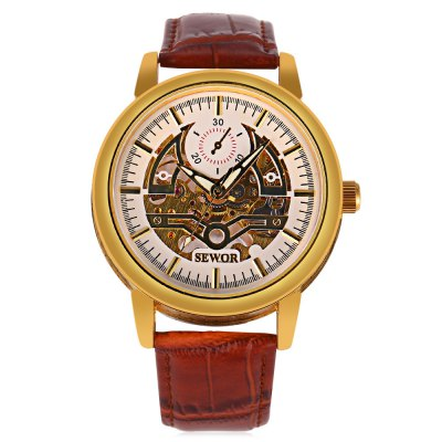 SEWOR SW045 Male Mechanical WatchMens Watches<br>SEWOR SW045 Male Mechanical Watch<br><br>Band Length: 8.27 inch<br>Band Material Type: Leather<br>Band Width: 20mm<br>Case material: Alloy<br>Case Shape: Round<br>Clasp type: Pin Buckle<br>Dial Diameter: 1.77 inch<br>Dial Display: Analog<br>Dial Window Material Type: Hardlex<br>Feature: Luminous<br>Gender: Men<br>Movement: Mechanical Hand Wind<br>Package Contents: 1 x Watch<br>Package Size(L x W x H): 27.00 x 6.00 x 2.00 cm / 10.63 x 2.36 x 0.79 inches<br>Package weight: 0.089 kg<br>Product Size(L x W x H): 26.00 x 5.00 x 1.00 cm / 10.24 x 1.97 x 0.39 inches<br>Product weight: 0.068 kg<br>Style: Business