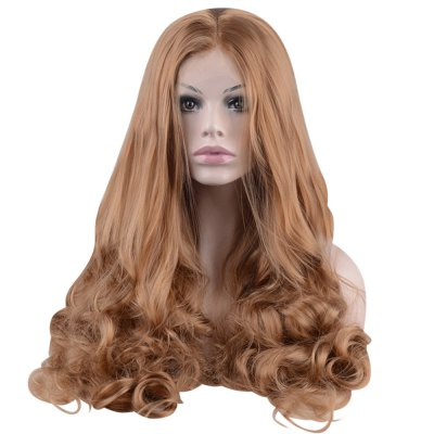 Long Brown Body Wave Lace Front Heat Resistant Synthetic Wig