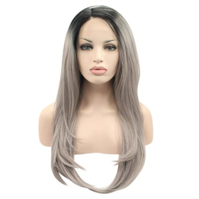 Long Medium Black Gray Gradient Lace Wig
