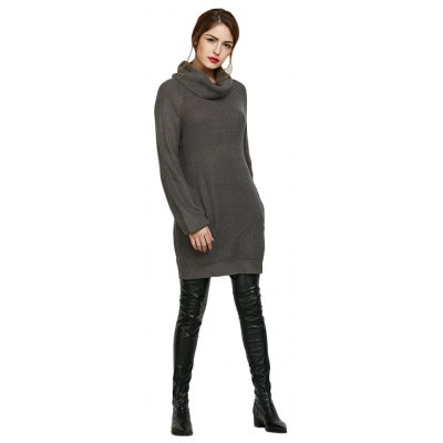 Turtleneck Long Sleeve Knitted Pure Color Pocket Design Women Sweater Dress