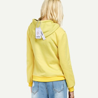 Casual drawstring 99 letter print women yellow hoodie...
