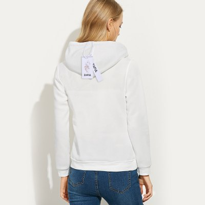 Casual drawstring 99 letter print women white hoodie...