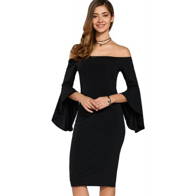 Half Trumpet Sleeve Off The Shoulder Knitted Sheath Dress for Women