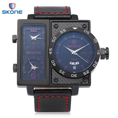 SKONE 9422EG Men Three Quartz Movt WatchMens Watches<br>SKONE 9422EG Men Three Quartz Movt Watch<br><br>Band Length: 7.48 inch<br>Band Material Type: Leather<br>Band Width: 24mm<br>Case material: Alloy<br>Case Shape: Irregular Shape<br>Clasp type: Pin Buckle<br>Dial Diameter: 2.05 inch<br>Dial Display: Analog<br>Dial Window Material Type: Hardlex<br>Feature: Luminous, Day, Date<br>Gender: Men<br>Movement: Quartz<br>Package Contents: 1 x Watch<br>Package Size(L x W x H): 26.00 x 7.00 x 2.50 cm / 10.24 x 2.76 x 0.98 inches<br>Package weight: 0.134 kg<br>Product Size(L x W x H): 25.00 x 6.00 x 1.50 cm / 9.84 x 2.36 x 0.59 inches<br>Product weight: 0.113 kg<br>Style: Business<br>Water Resistance Depth: 30m