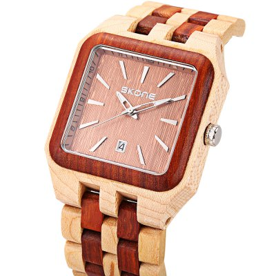 SKONE 7398BG Men Quartz WatchMens Watches<br>SKONE 7398BG Men Quartz Watch<br><br>Band Length: 8.66 inch<br>Band Material Type: Wooden<br>Band Width: 24mm<br>Case material: Wooden<br>Case Shape: Square<br>Clasp type: Folding Clasp<br>Dial Diameter: 1.57 inch<br>Dial Display: Analog<br>Dial Window Material Type: Hardlex<br>Feature: Luminous, Date<br>Gender: Men<br>Movement: Quartz<br>Package Contents: 1 x Watch<br>Package Size(L x W x H): 10.00 x 7.50 x 6.50 cm / 3.94 x 2.95 x 2.56 inches<br>Package weight: 0.149 kg<br>Product Size(L x W x H): 22.00 x 4.20 x 1.20 cm / 8.66 x 1.65 x 0.47 inches<br>Product weight: 0.064 kg<br>Style: Business