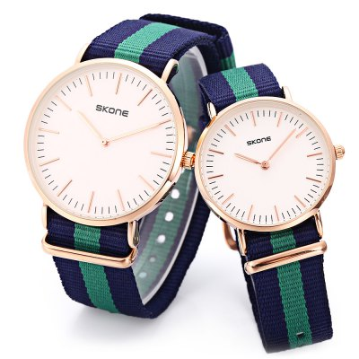 SKONE 6165 Couple Quartz WatchCouples Watches<br>SKONE 6165 Couple Quartz Watch<br><br>Band Length: men: 9.84 inch, women: 9.45 inch<br>Band Material Type: Nylon<br>Band Width: men: 20mm, women: 16mm<br>Case material: Alloy<br>Case Shape: Round<br>Clasp type: Pin Buckle<br>Dial Diameter: men: 1.54 inch, women: 1.28 inch<br>Dial Display: Analog<br>Dial Window Material Type: Hardlex<br>Gender: lovers,Men,Women<br>Movement: Quartz<br>Package Contents: 1 x Watch<br>Package Size(L x W x H): 10.00 x 7.50 x 6.50 cm / 3.94 x 2.95 x 2.56 inches<br>Package weight: 0.149 kg<br>Product Size(L x W x H): 25.00 x 7.70 x 0.70 cm / 9.84 x 3.03 x 0.28 inches<br>Product weight: 0.064 kg<br>Style: Fashion &amp; Casual