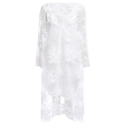 3/4 Sleeve See-through Embroidery Lace Dress